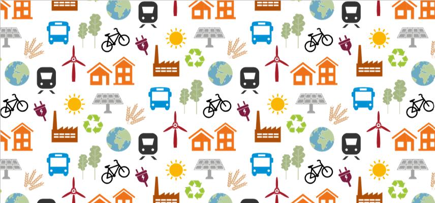 En mängd symboler på tåg, sol, hus, cykel, solceller, hållbarhetstecken, jordglob, elkraftverk, vete, elkontakt, buss, vindkraftverk och växter i flera olika färger.