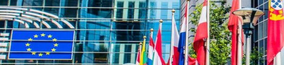 Flaggstänger utanför Europaparlamentet.