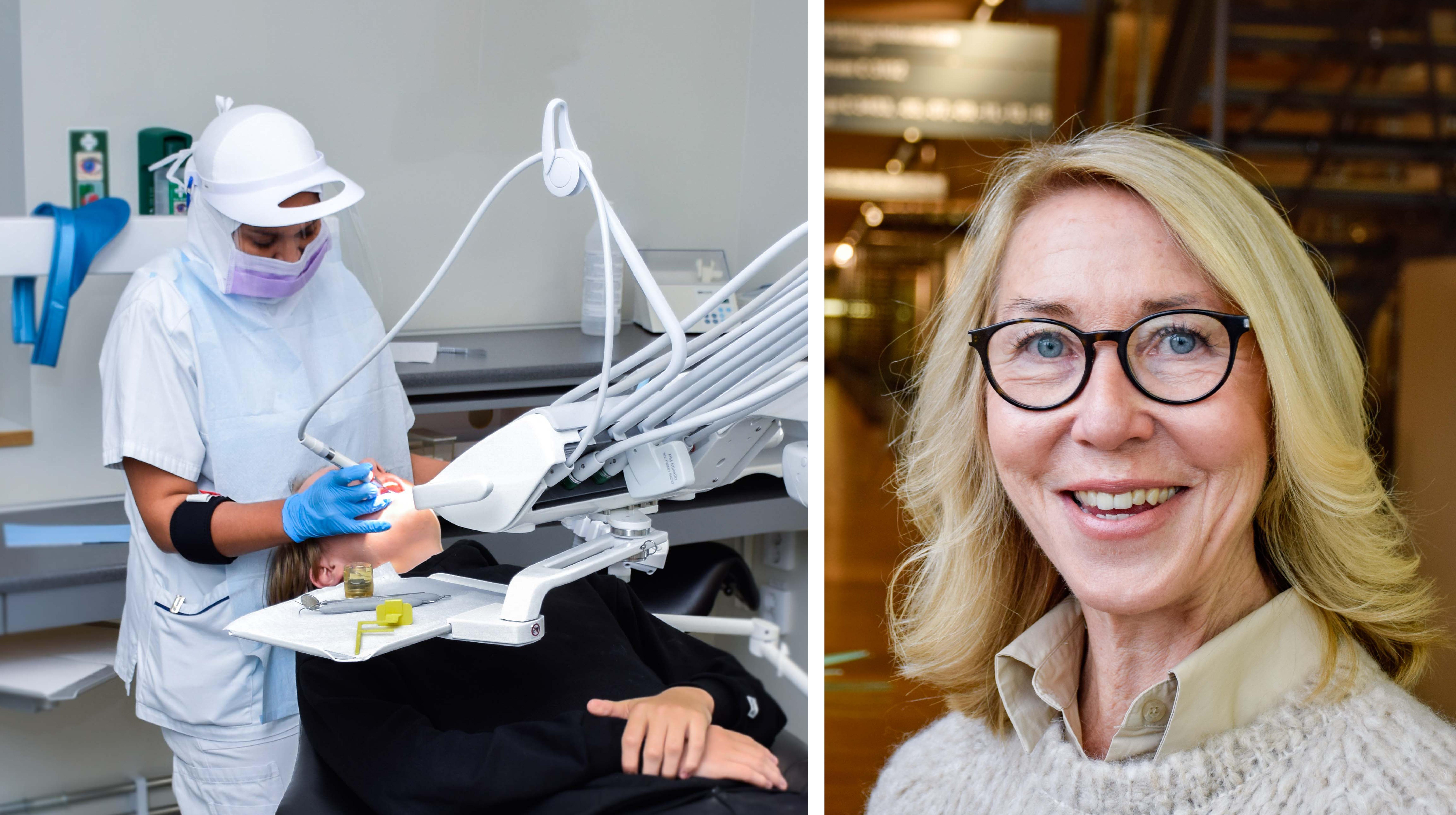 Ett tandläkarbesök, till vänster och forskaren Margitha Björksved till höger.